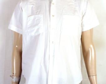 vtg 50s 60s Arrow Whip Mitoga Solid White Button Down Dress Shirt sanforized M