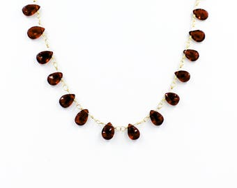 Full Garnet Tear Drop Necklace