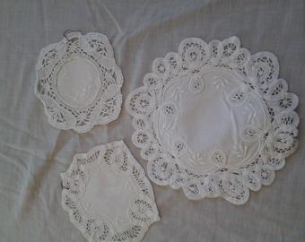 White Battenburg Lace Doilies