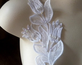 WHITE Beaded Applique in White Lace  for Bridal, Headbands, Costume Design  WA 752