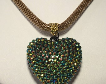 32 Inch Snake Chain With A Rhinestone Heart Pendant