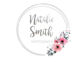 Premade Logo: Floral logo, watermark pink and silver circle