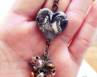 lampwork heart necklace - lampwork beads - lampwork necklace - heart necklace - lampwork pendant necklace - lampwork jewelry - lampwork