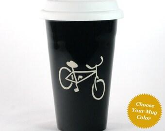 Bicycle Travel Mug - insulated black ceramic coffee cup
