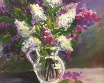 Lilac original art, acrylic painting, floral painting, wall art lilac