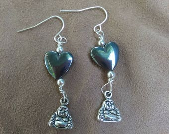 Hematite Heart Buddha Earrings
