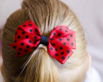 Hair Bow - Small Black on Red Polka Dot Print Pinwheel Bow
