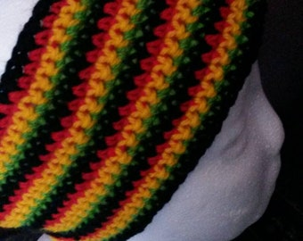 Handmade crochet rasta headband.