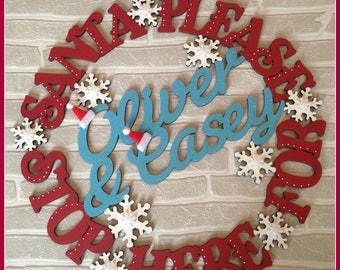 Santa Stop Here Wooden Wreath Personalised Plaque Sign