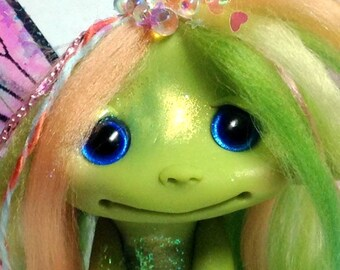 """Spring Pastel Rainbow Frog Faerie Trollfling Troll doll """"Claire"""" by Amber Matthies"""