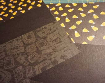 OOAK Black-BandedCandy Corn w/Dark Geometric Pattern 12 x 12 Scrapbook Pages - 2 Page Set