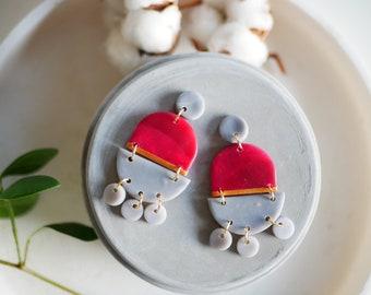 Statement jewelry, statement earrings, boho earrings, big earrings, polymer clay earrings, dangle drop earrings, geometric earrings, summer