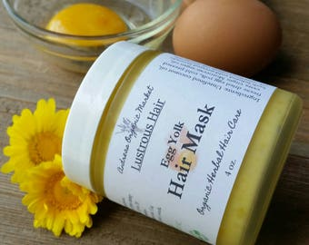 Organic Egg Yolk Hair Mask, Deep Conditioner, Organic Hair Care, Herbal Hair Care, Hair Softening Treatment, Natural Protein Hair Mask