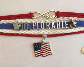 DEPLORABLE Trump Infinity Love Bracelet - Red White and Blue - Wrap Bracelet - Make America Great - Deplorable