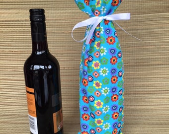 Bright Flower Fabric  Wine Bottle Gift Bag,Fabric Wine Bag,Fabric Bottle Bag, Fabric Gift Bag, Wine Bottle Bag, Wine Gift Bag, Fabric Bag