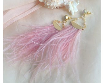 Pink Feather Statement Earrings/ High Fashion Jewelry/ Pink Opal Gold Long Earrings