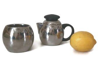 Stainless Steel Creamer and Sugar Bowl Set Mid Century Kitchen Chrome Stainless Steel Kitchen Decor Vintage Kitchen