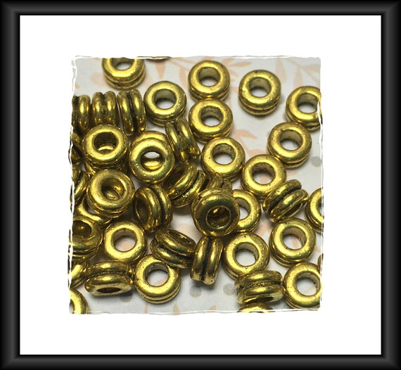 Gold Tone Double Ring Spacer Beads, 6 x 3 mm, 2.5 mm Hole, 22 Spacers