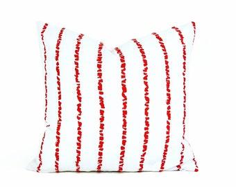 Decorative Pillows, Red White Pillows, Striped Pillows, Throw Pillow Covers, Red White Stripes, Mid Century Modern, Home Decor, 18x18