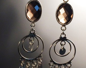 Smokey Quartz and Sterling Silver Chandelier Earrings