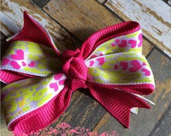 Lime Green Cheetah and Pink Hearts Hair Bow