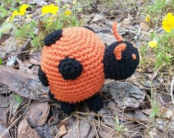 Ladybug Plush Toy. Orange Amigurumi Ladybug. Roly-Poly Plush Crochet Ladybug. Stuffed Animal Ladybug Toy. Ladybird Plushie. Crochet for Kids