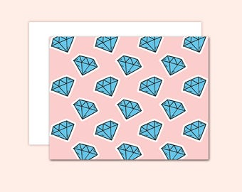 Diamond Notecard Set (10 cards), Hostess Gift, Wedding Cards, Thank You Cards, Cute Note Card, Greeting Card, Blank Inside