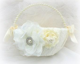 Ivory Lace Wedding Flower Girl Basket with Pearl Handle Elegant Vintage Style