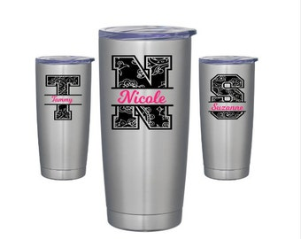 Paisley Yeti Decal - Personalized Tumbler Decal - Monogram Decal - Personalized Yeti Initial - Custom Name Decal - Split Letter Decal