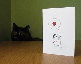 Cute dog love card. Woof, I love you! Sweet funny card for dog lover. Mother's Day card, blank inside for your personal message.