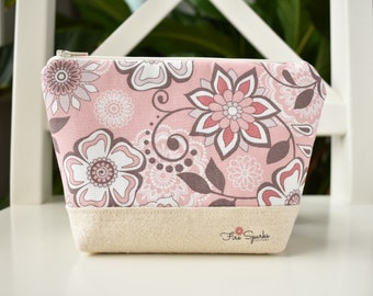 Zipped Pouch - Pink, White, Brown, Flowers - makeup bag, cosmetic bag, toiletry bag, accessories bag, small storage bag, small zipper pouch