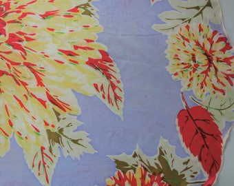 "Rare Vintage Baar & Beards Silk Scarf 35"" Hand Rolled SCALLOPED Edges 1930s Floral Blue Red"