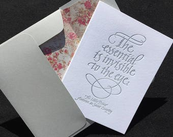 "Letterpressed Greeting Card with Calligraphic Quote from ""The Little Prince"""