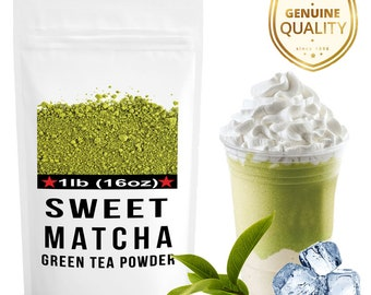 Sweet Matcha Green Tea Powder; Energy Drink - Make Latte, Frappe, Smoothie at home. FREE 1-3 day USA Shipping