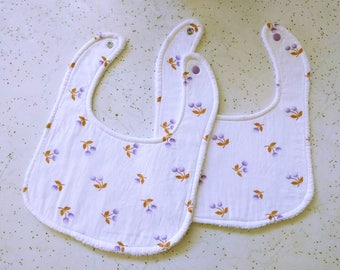 Pair of bibs for baby girl babyshower gift