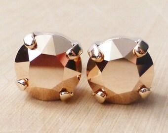 Rose Gold Swarovski Stud Earrings, Crystal Rhinestone Stud Earrings, Post Earrings, Rose Gold Round Crystal Studs, Diamond Cut, Gift for Her