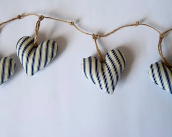 Striped heart bunting - navy and white ticking stripe - nautical fabric - garland - handmade - beach house