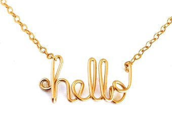 hello gold necklace. hello lowercase wire necklace. hello 14k gold filled Necklace. custom gold word necklace. greeting necklace.