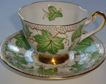 Royal Chelsea Green Leaves With Dotted Gold Cup & Saucer ~ Pattern 426/A