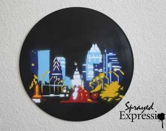 Austin Skyline Vinyl Record Spray Painting