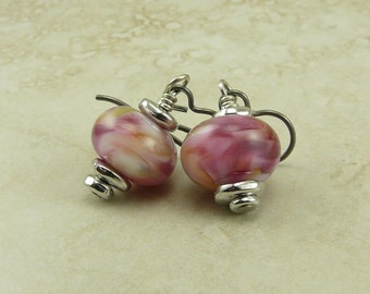 Melted Petal Hues Lampwork Bead Earrings > Valentine Bridal Love Pink Purple Green - Hypoallergenic Niobium Ear Wires E2-28
