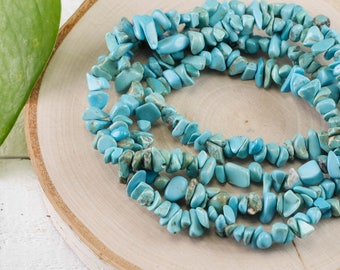 "34"" Turquoise Blue Dyed HOWLITE Chip Necklace - Howlite Bead Necklace, Howlite Jewelry, Howlite Necklace, Healing Crystals and Stones E0815"