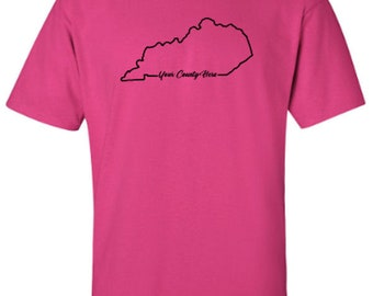 Kentucky County State Outline, Kentucky Proud, Show Off Your County Adult Unisex Tshirt