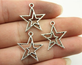 10 Double Star Charms, Antique Silver Tone (1L-164)