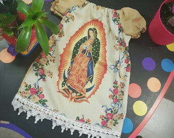 Virgin of guadalupe religious  dress. Made to order. Off white.