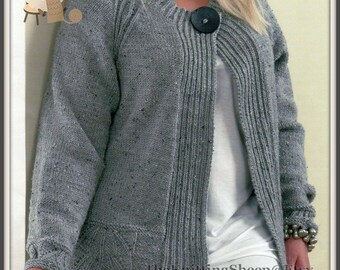 """PDF Knitting Pattern For Plus/Larger Lady Size ARAN Cardigan & Sweater 40-50"""" Busts - Instant Download"""