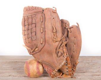 Old Vintage Leather Baseball Glove / Rawlings Tom Gavin Baseball Glove / Antique Baseball Glove / Old Glove Antique Mitt / Baseball Decor