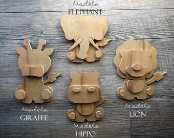Animals cut raw wood, nature decoration, baby and room child, Savannah animals and sea animals
