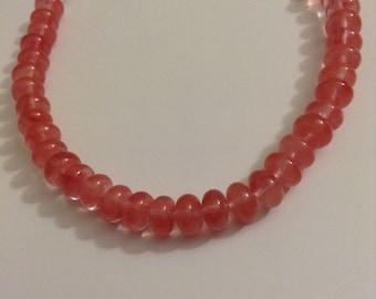 Cherry Quartz rondelle beaded bracelet