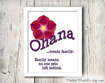 OHANA Digital Print, Ohana Means Family, Lilo and Stitch, Disney Instant Print, Poster Art Printable, Wall Art Home Decor, INSTANT DOWNLOAD